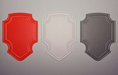 chamois leather: Three labels or tags over grey leather background  Large resolution Stock Photo