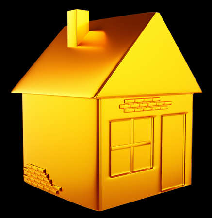 valuable accommodation  golden house shape over black background Stock Photo - 14588190