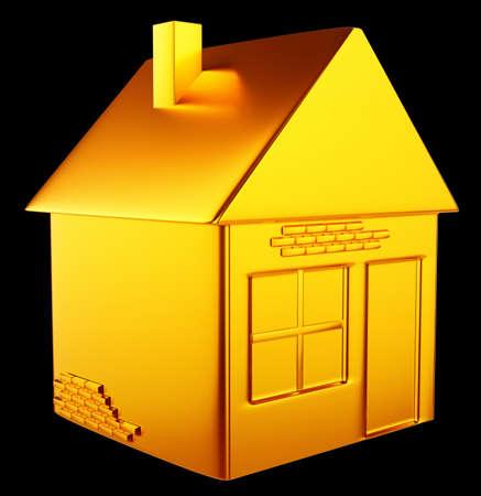 valuable accommodation  golden house shape over black background Stock Photo - 14588190
