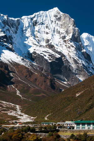 Village with hotels and lodge for tourists in Himalayas  Travel to Nepal photo