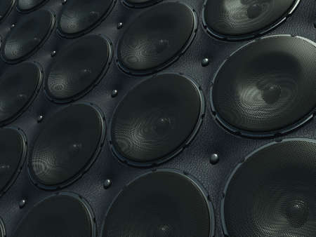 Wall of Sounds  black speakers over leather pattern  large resolution