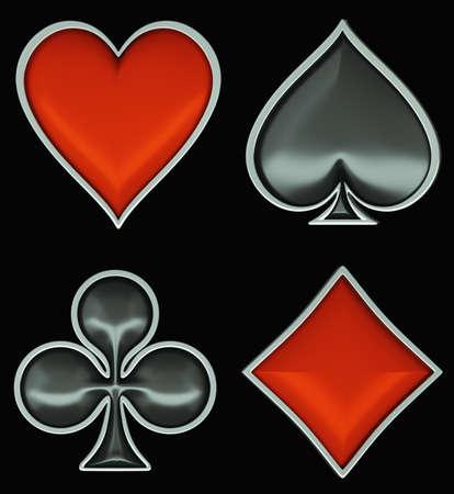 coeur diamant: Costumes de carte avec encadrement gris isolé sur un fond noir. Poker et casino