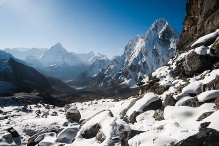 Cho La pass and sunrise in Himalayas.Climbing in Nepal photo