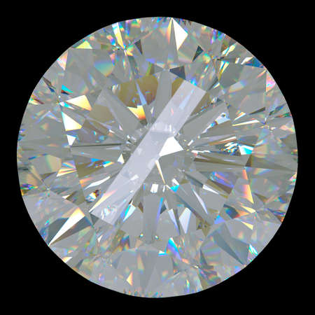 Gemstone: top view of round diamond isolated on black. Large resolution photo