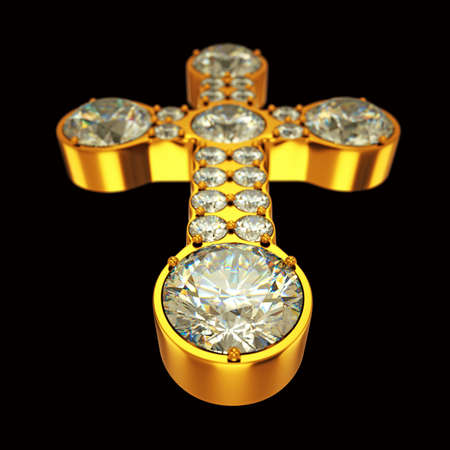Jewelery: golden cross with diamonds over black. Custom made and rendered photo