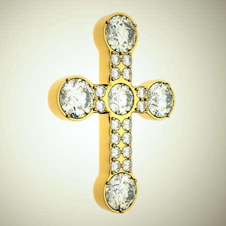 Jewelery: golden cross with diamonds. Custom made and rendered  photo