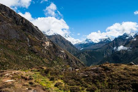 altitude: Lhotse and Ama Dablam peaks: Himalaya landscape. Hiking in Nepal