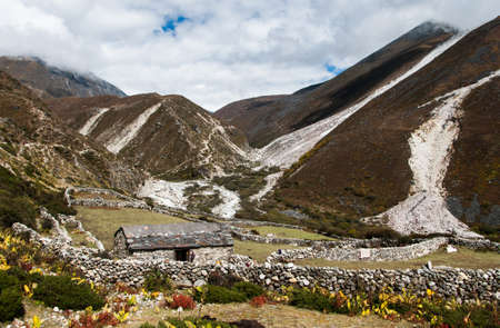 Life in Nepal: highland village and peaks in Himalayas. Travel to Nepal photo
