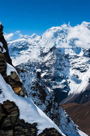 himalaya: Mountains and rocks viewed from Renjo pass in Himalayas.Travel to Nepal Stock Photo
