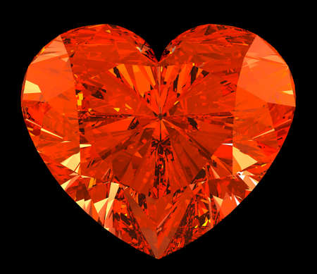 Red heart cut shape diamond over black. Large resolution photo