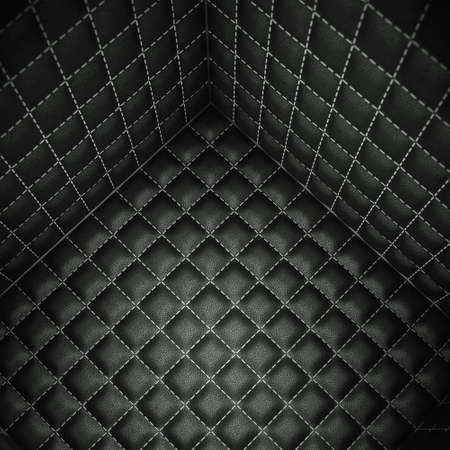wall angle corner: Soft room concept: Isolation and segregation. Black stitched leather pattern Stock Photo