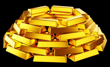 Wealth: gold bars or bullions isolated over black background Stock Photo - 14588215