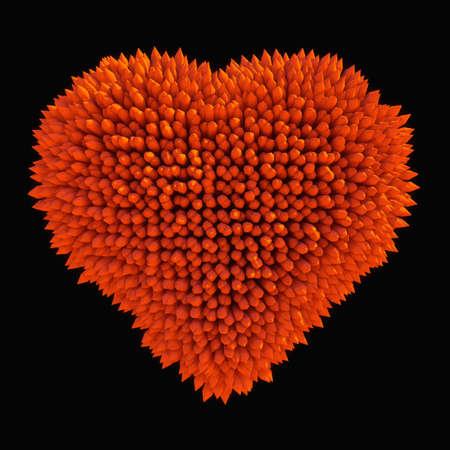 dangerous love: Pericoloso amore: forte a forma di cuore isolato su nero acidotus