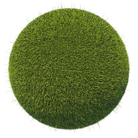 Eco and environment: green fresh grass globe isolated on white Stock Photo - 15281542