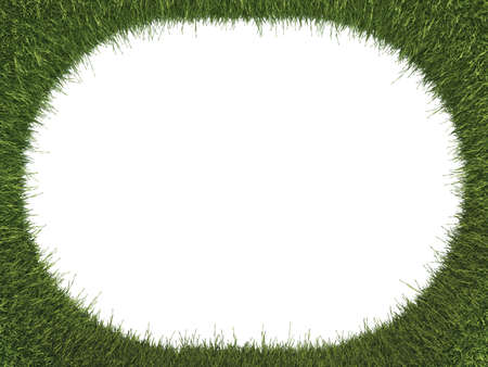 Green fresh grass rounded frame: ecology and environment. Isolated on white Stock Photo - 15281435
