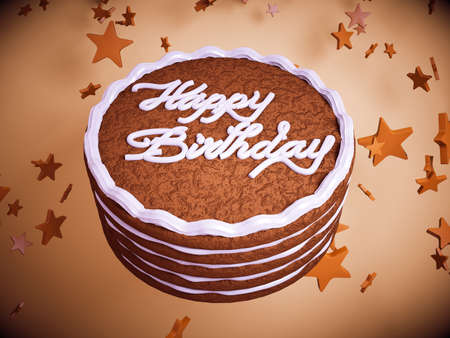 Happy birthday: cake with colorful background and stars. Large resolution photo