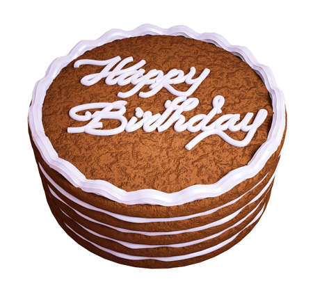 Happy birthday: sandwiched chocolate cake isolated over white Stock Photo