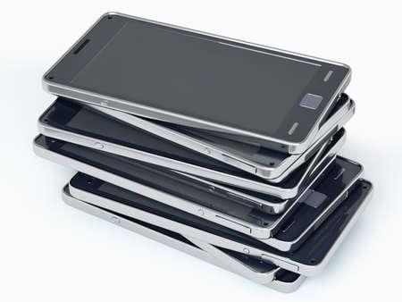 Heap of smart phones over white. Custom rendered photo