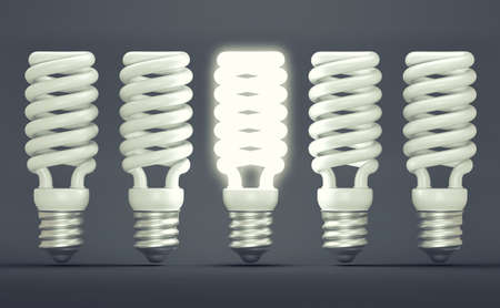Idea or invention: illuminated efficient bulb among group of off ones. Large resolution photo