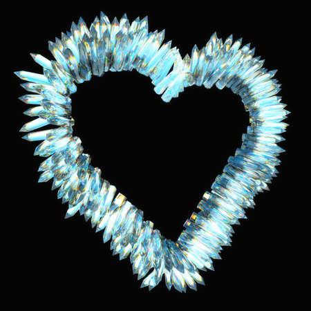 stalagmite:  jealousy and sharp love: crystal heart shape over black