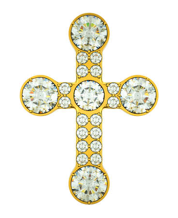 crucifix: Jewelery: golden cross with diamonds isolated over white Stock Photo
