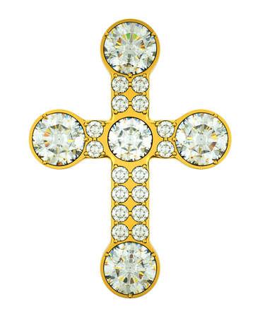 kruzifix: Schmuck: goldenes Kreuz mit Diamanten isoliert über weiß