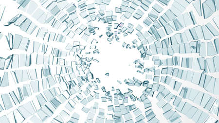 Pieces of broken glass over white background. Large resolution Stock Photo
