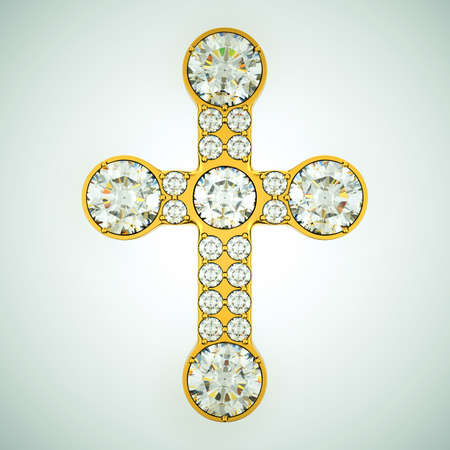 Religion and fashion: golden cross with diamonds. Custom made and rendered photo