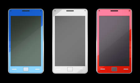 Smart phones in red blue and white colours over black (custom created and rendered) photo