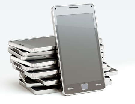 Stack of cellphones with touch screens over white. Custom rendered Stock Photo - 15280892