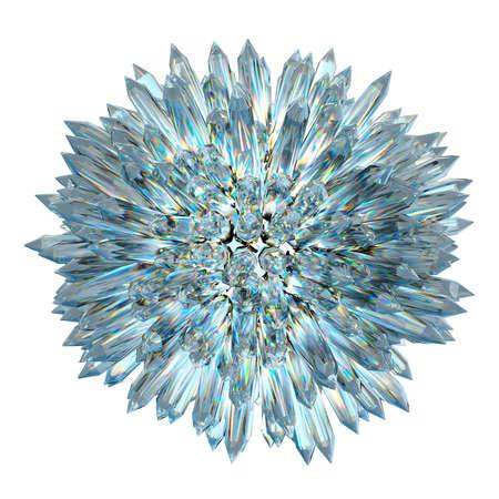 silica: Sfera di cristallo con colonne acute isolatred su bianco