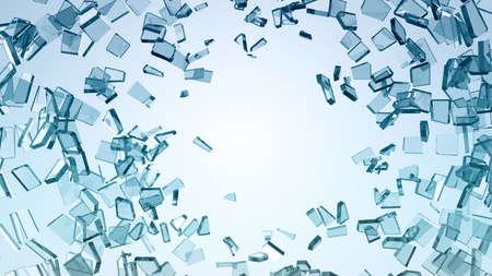 損傷および大破: 壊れたガラスの部分。大解像度
