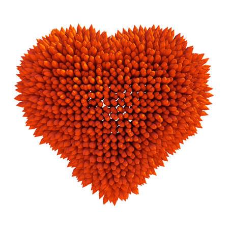dangerous love: Dangerous love: sharp acidotus heart shape isolated over white