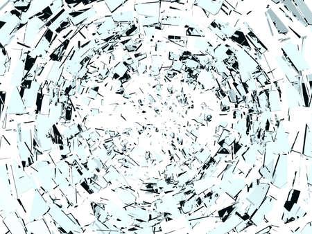 白で隔離される壊れたガラスの破壊: 部分