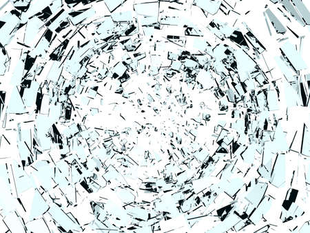 Destruction: Pieces of broken glass isolated on white