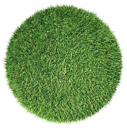 Environment: green fresh grass globe or planet isolated on white Archivio Fotografico