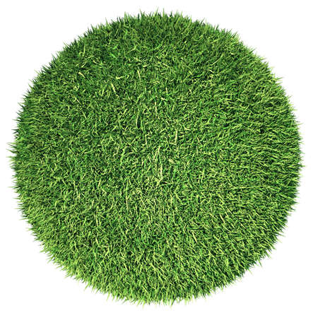 Environment: green fresh grass globe or planet isolated on white Stock Photo