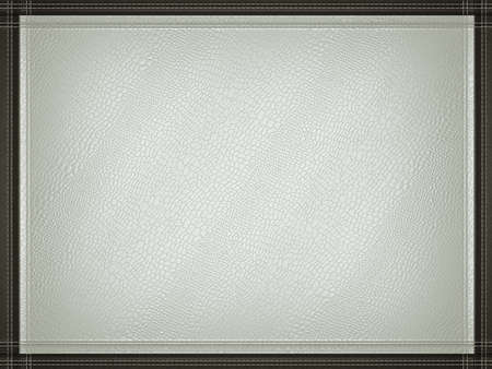 Gray mock croc or alligator skin background with stitched black border frame. Useful for fashion and business photo