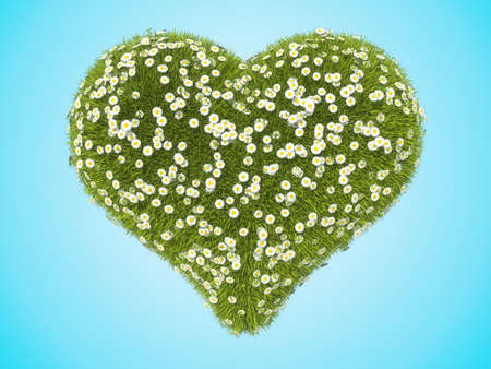 Green grass heart shape with camomile flowers over blue background Stock Photo - 16053846