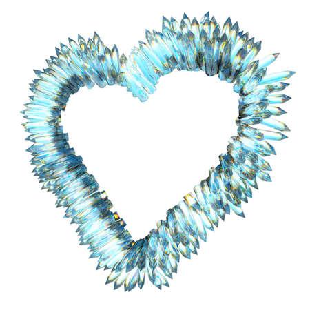 corazon cristal: amor y celos agudo: cristal en forma de coraz�n aislado en blanco Foto de archivo