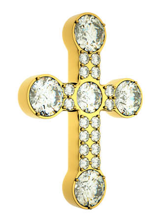 Religion and fashion: golden cross with diamonds isolated over white photo