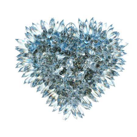 heart of stone: sharp love and jealousy: crystal heart shape isolated over white Stock Photo