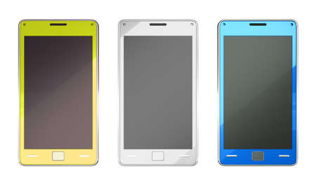 Smart phones in yellow blue and white colours over white photo