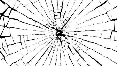 黒の上の白いガラスの破片の抽象的な BW の作品。大規模な resokution 写真素材