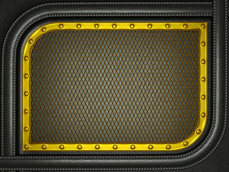 Black leather background with golden metallic grill. Useful as business background photo