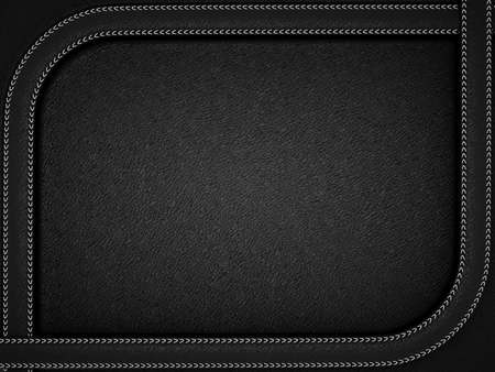 丸みを帯びたステッチ フレームと黒い革背景。事業の背景として役に立つ