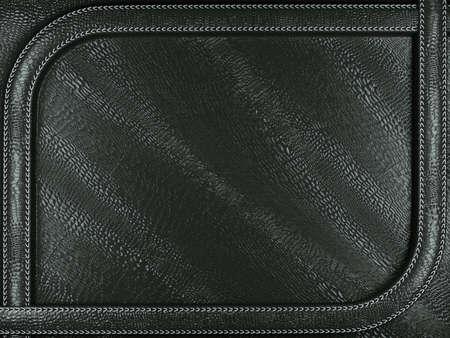 Black mock croc or alligator skin background with stitched pattern. Large resolution