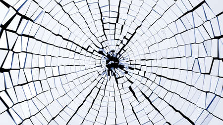 Bullet hole: broken glass pieces. Large resolution
