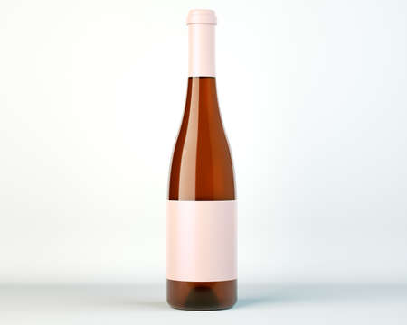 corked: Corked bottle of white wine or brandy with blank label over studio background