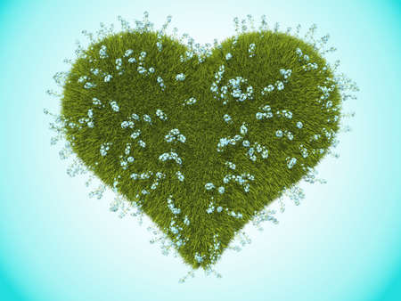 Green grass heart with forget-me-not flowers over blue Stock Photo - 16450311